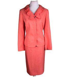 JOHN MEYER Polyester Ruffle Skirt Suit